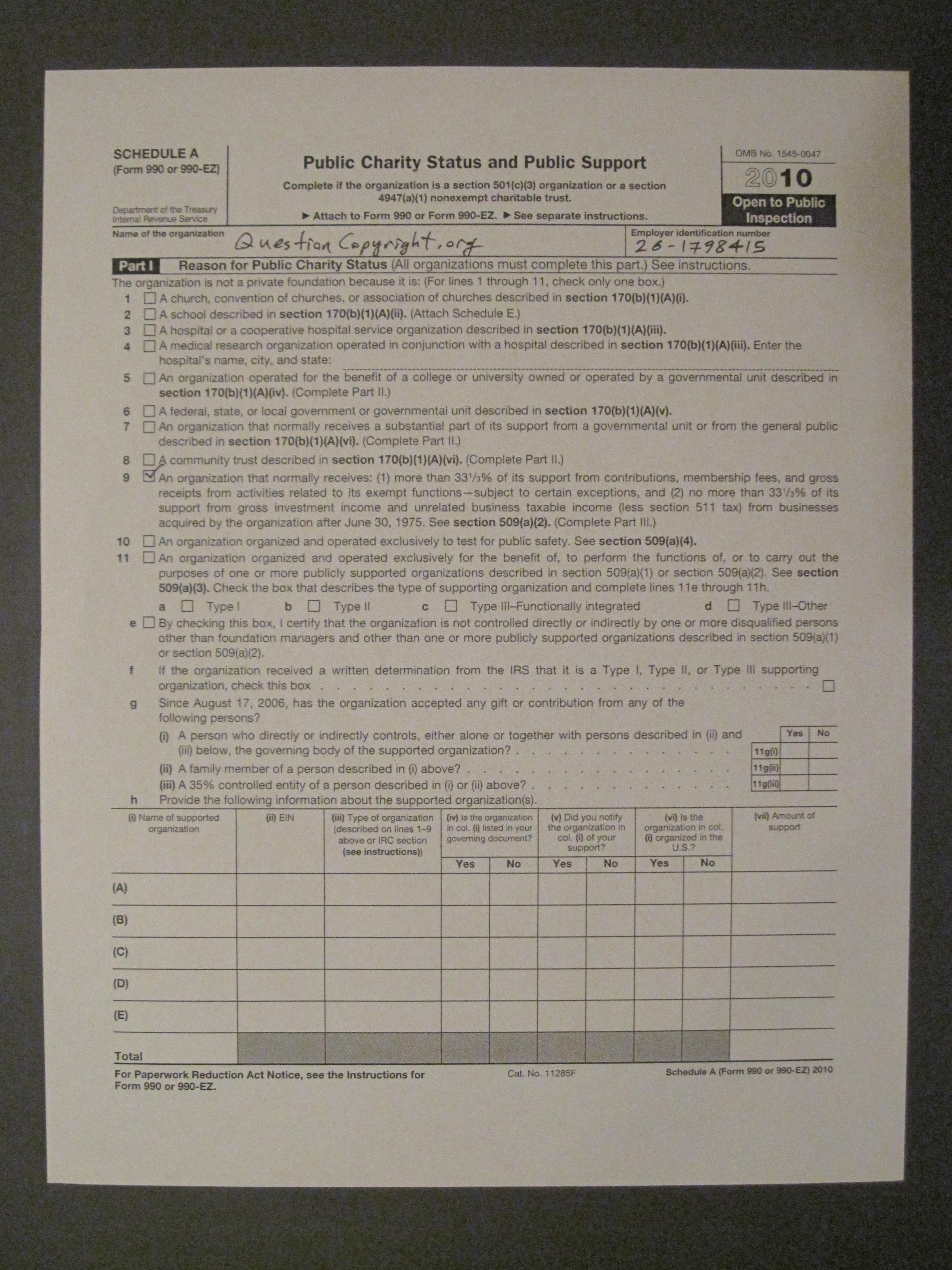 Corporate documents tax returns etc questioncopyright 2010 990 ez schedule a page 1 falaconquin