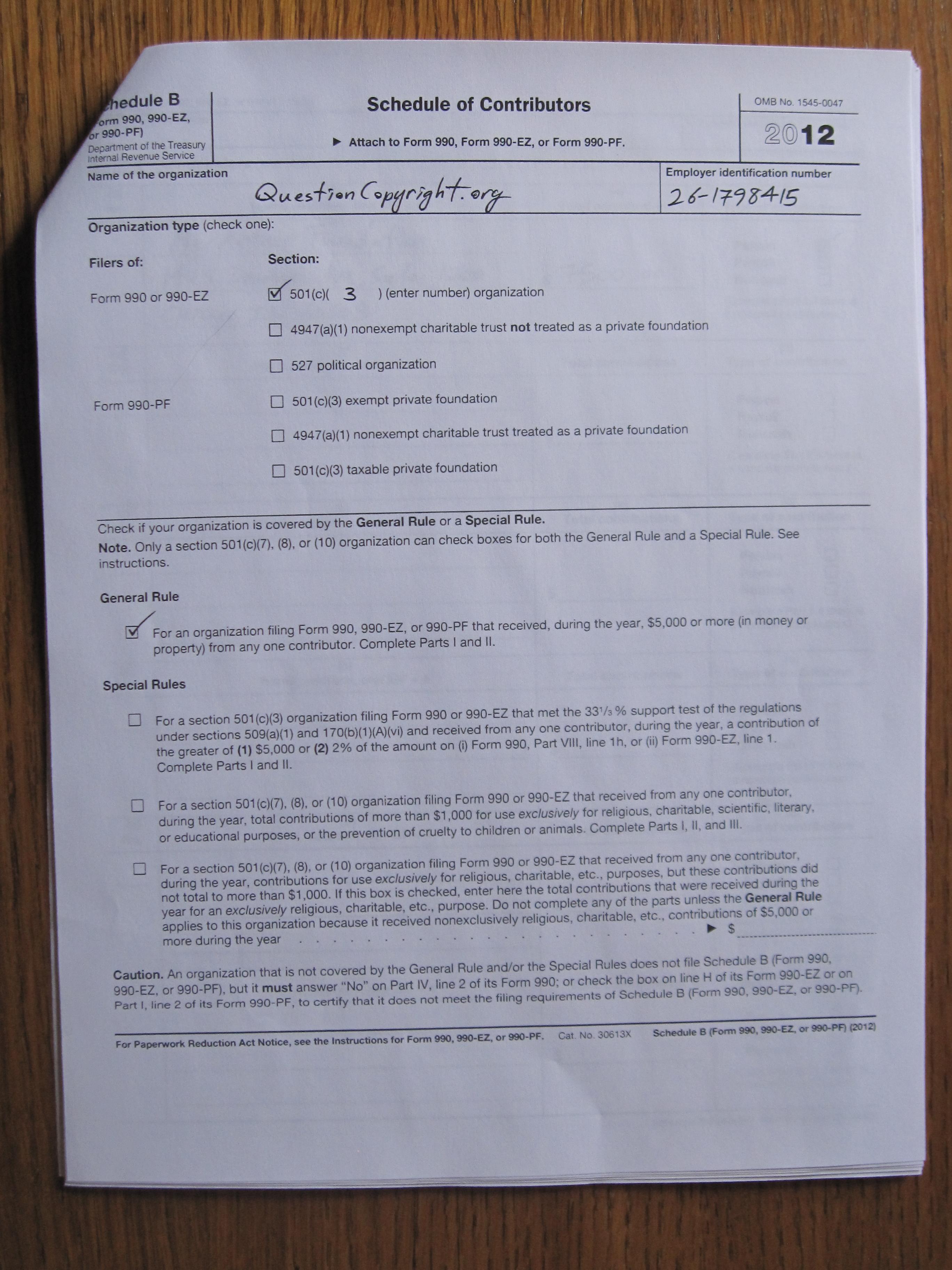 Corporate documents tax returns etc questioncopyright 2012 990 ez schedule b page 1 falaconquin