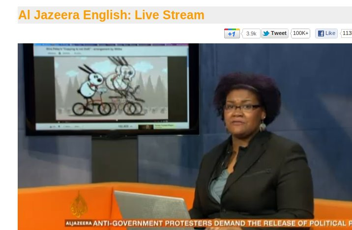 "Minute Meme ""Copying Is Not Theft"" being shown on Al Jazeera English (live stream)."