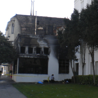 Internet Archive, showing fire damage to scanning center building.