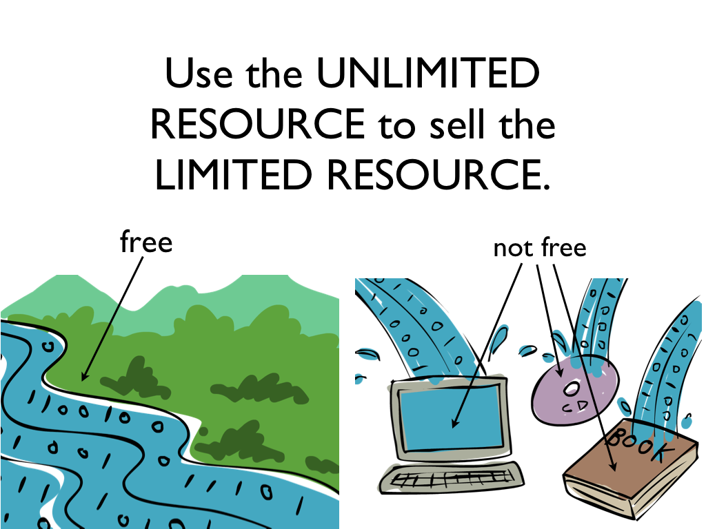 free vs not free; use the unlimited resource to sell the limited resource