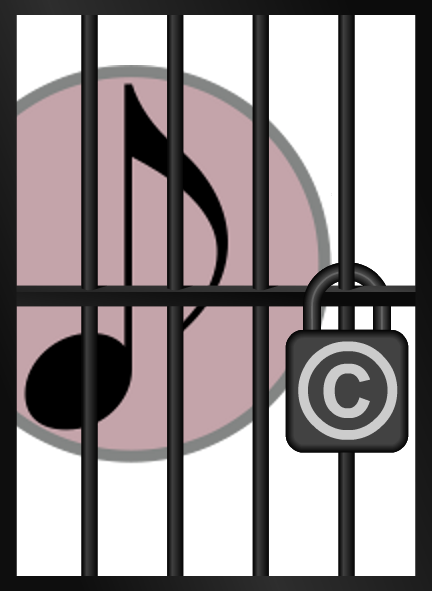 A musical note, in copyright jail