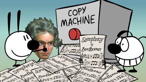 Mimi, Eunice and Beethoven make many copies
